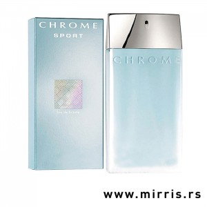 Plava kutija i plava boca parfema Azzaro Chrome Sport