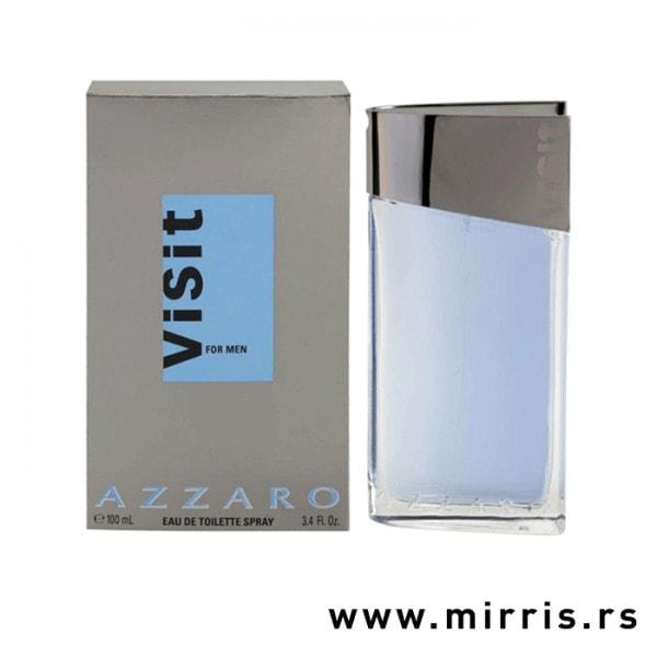 Boca parfema Azzaro Visit pored originalne kutije sive boje