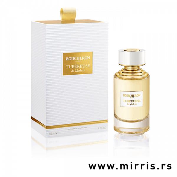 Originalna boca parfema Boucheron Tubéreuse De Madras pored bele kutije