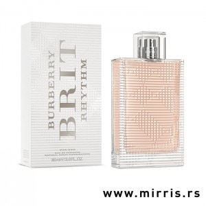 Roze boca parfema Burberry Brit Rhythm For Her pored bele kutije