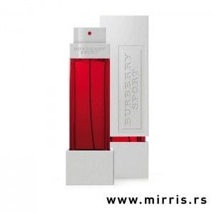 Crvena boca parfema Burberry Sport pored bele kutije