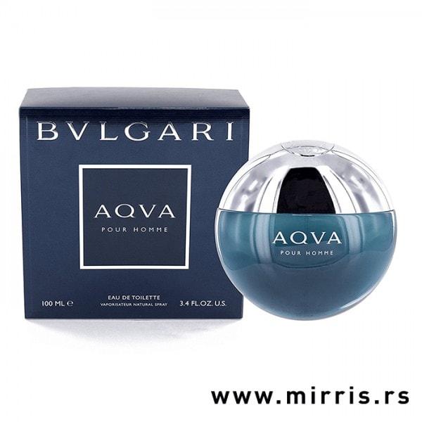 Plava kutija i okrugla bočica parfema Bvlgari Aqva Pour Homme