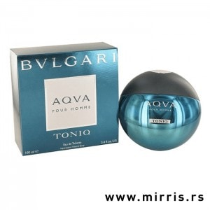 Okrugla bočica parfema Bvlgari Aqva Pour Homme Toniq pored originalne kutije