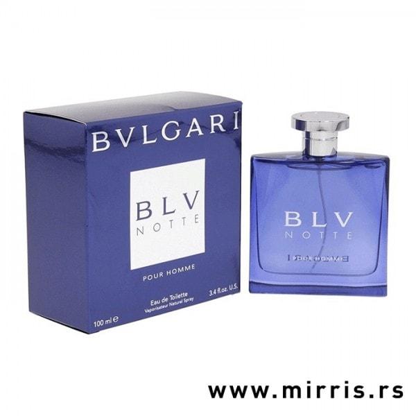Plava kutija i bočica originalnog parfema Bvlgari BLV Notte Pour Homme