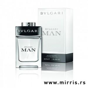 Bočica originalnog parfema Bvlgari Man In Black i kutija bele boje