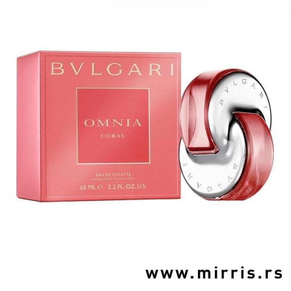 Crvena kutija i boca originalnog parfema Bvlgari Omnia Coral