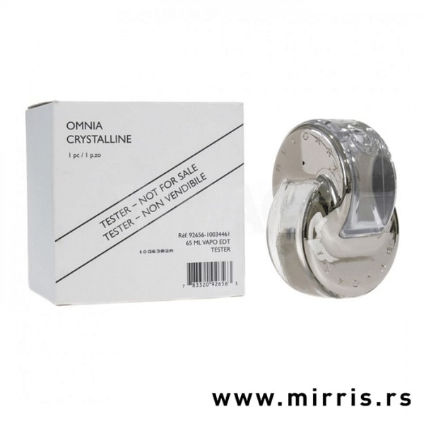 Kutija bele boje i boca testera Bvlgari Omnia Crystalline