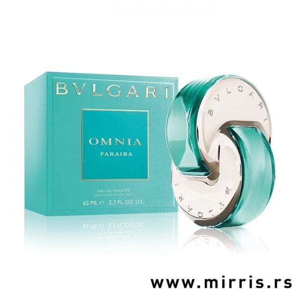 Bočica originalnog mirisa Bvlgari Omnia Paraiba i svetlo plava kutija