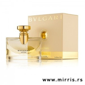 Bočica parfema Bvlgari Pour Femme pored originalne kutije