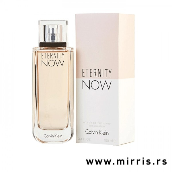 Roze bočica parfema Calvin Klein Eternity Now For Women pored originalne kutije