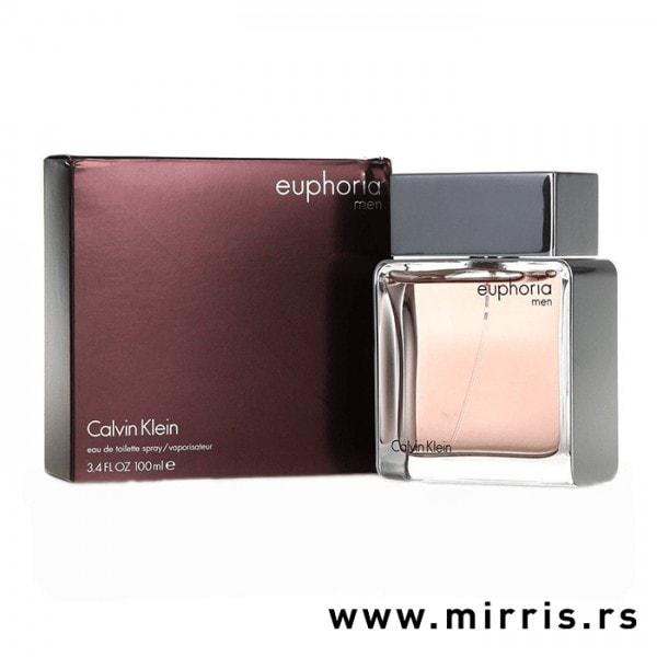 Ljubičasta kutija i boca originalnog parfema Calvin Klein Euphoria Men