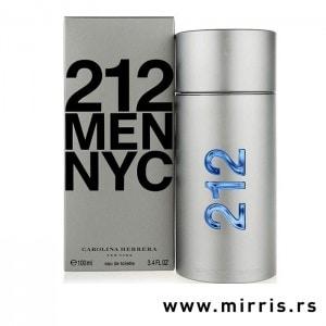 Siva kutija i boca parfema Carolina Herrera 212 Men