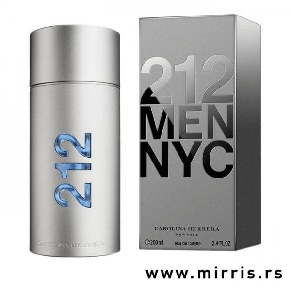 Siva bočica parfema Carolina Herrera 212 Men pored kutije sive boje