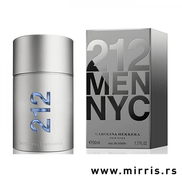 Bočica originalnog parfema Carolina Herrera 212 Men pored sive kutije