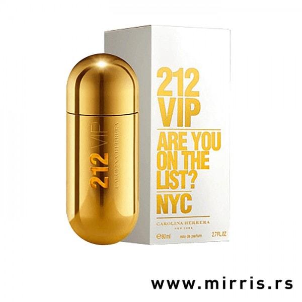 Bočica originalnog parfema Carolina Herrera 212 VIP pored bele kutije