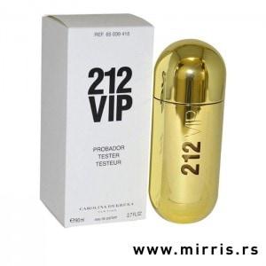 Bela kutija i bočica testera Carolina Herrera 212 VIP zlatne boje