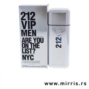 Bočica parfema Carolina Herrera 212 VIP Men pored sive kutije