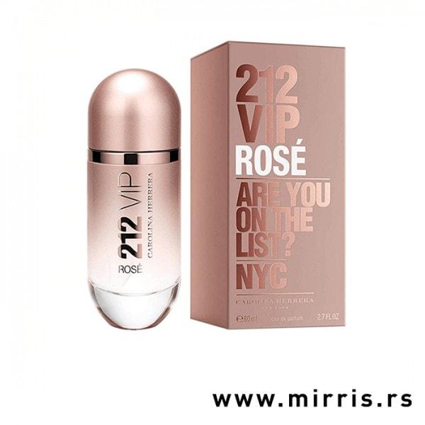Roze boca parfema Carolina Herrera 212 VIP Rose pored originalne kutije