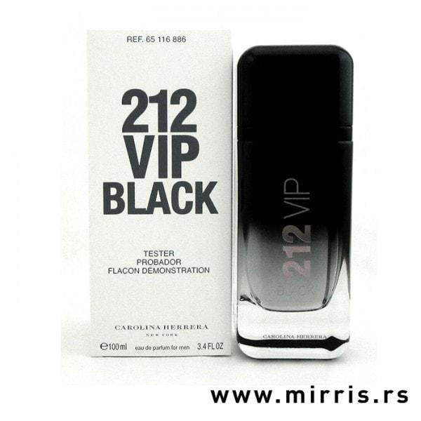 Bela kutija i bočica testera Carolina Herrera 212 Vip Men Black