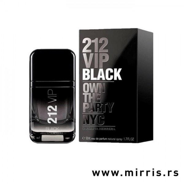 Originalni parfem crne boje Carolina Herrera 212 Vip Men Black i njegova kutija