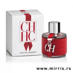 Crvena bočica parfema Carolina Herrera CH i bela kutija
