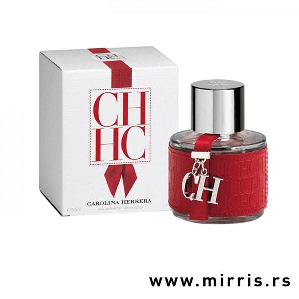 Bela kutija i originalna boca parfema Carolina Herrera CH