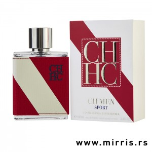 Bočica originalnog parfema Carolina Herrera CH Men Sport i crveno bela kutija