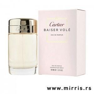 ROze bočica parfema Cartier Baiser Vole i kutija roze boje
