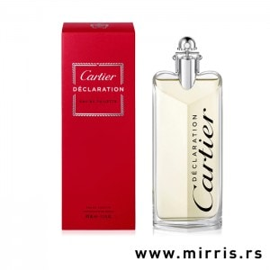 Crvena kutija i bočica originalnog parfema Cartier Declaration
