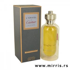 Kutija sive boje pored žute boce originalnog mirisa Cartier L'Envol