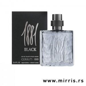 Flašica parfema Cerruti 1881 Black pored originalne crne kutije
