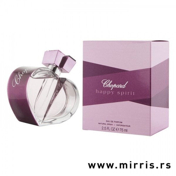 Flašica parfema Chopard Happy Spirit ljubičaste boje pored originalne kutije