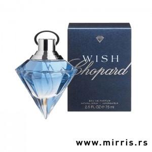 Svetlo plava boca parfema Chopard Wish i original kutija