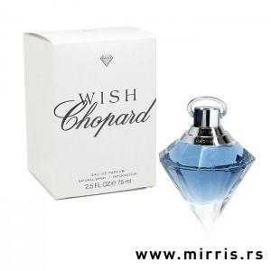 Bela kutija i plava bočica testera Chopard Wish