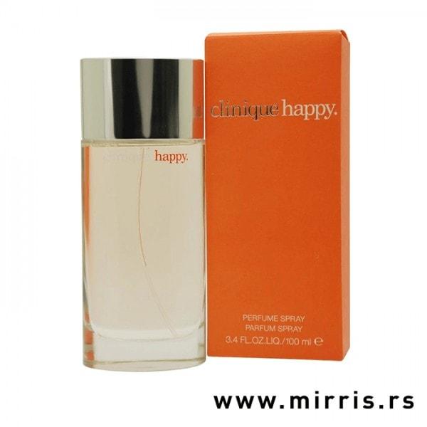 Bočica parfema Clinique Happy Clinique pored originalne kutije