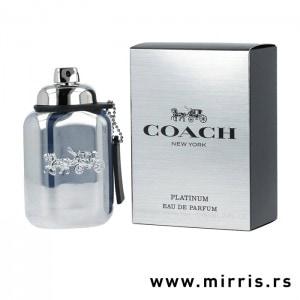 Bočica parfema Coach Platinum srebrne boje i originalna srebrna kutija