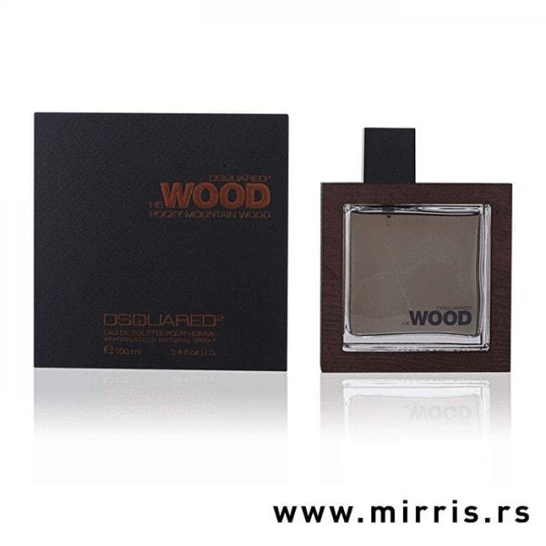 Crna kutija i bočica originalnog parfema DSQUARED² He Wood Rocky Mountain Wood