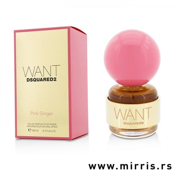 Flašica originalnog parfema DSQUARED² Want Pink Ginger pored kutije