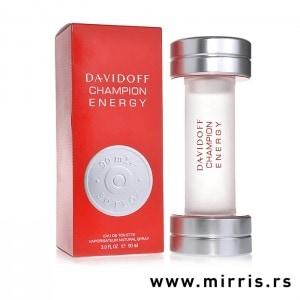 Kutija crvene boje i boca parfema Davidoff Champion Energy u obliku tega