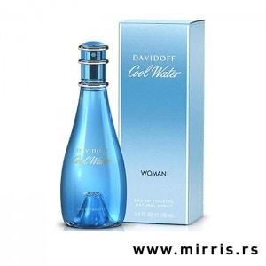Bočica original parfema Davidoff Cool Water plave boje pored plave kutije