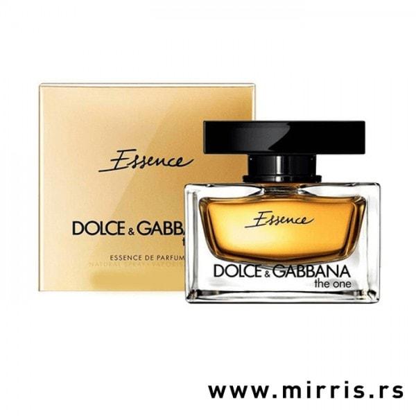 Kutija zlatne boje i bočica originalnog parfema Dolce & Gabbana The One Essence