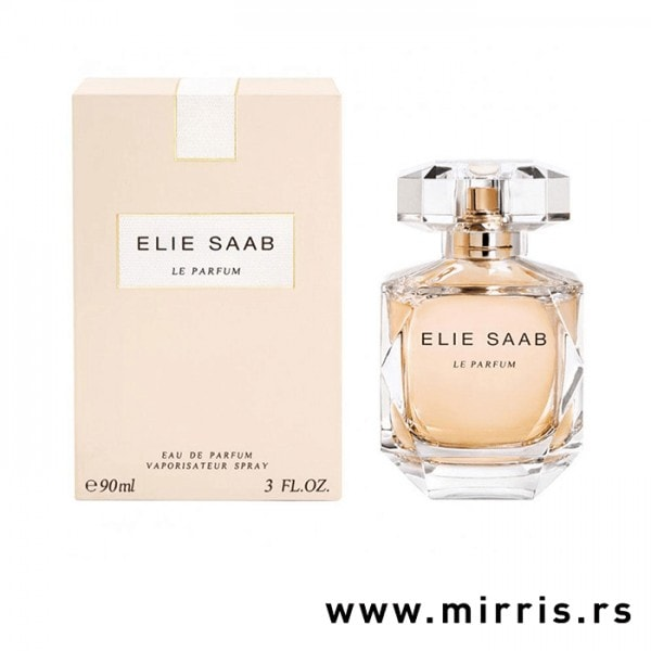 Bočica originalnog parfema Elie Saab Le Parfum pored roze kutije