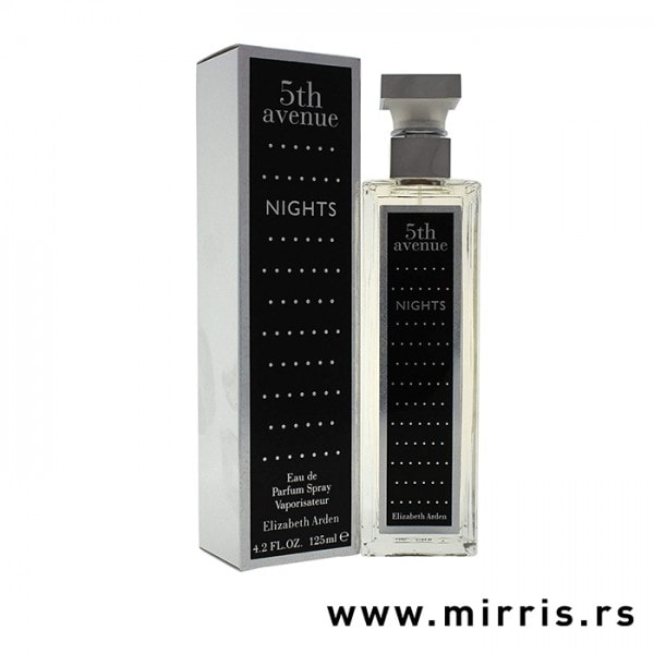 Crna boca parfema Elizabeth Arden 5th Avenue Nights pored crne kutije