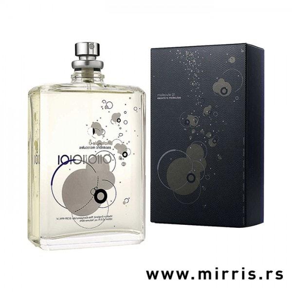 Boca parfema Escentric Molecules Molecule 01 pored originalne kutije