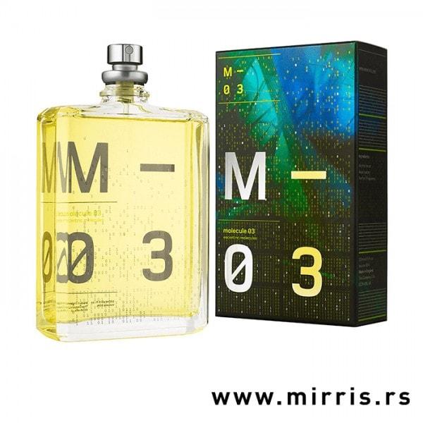 Boca parfema Escentric Molecules Molecule 03 pored originalne kutije