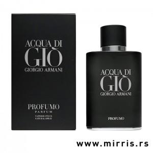 Crna bočica originalnog mirisa Giorgio Armani Acqua Di Gio Profumo i njegova kutija crne boje