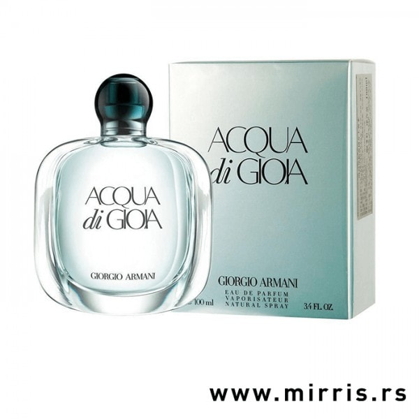 Bočica parfema Giorgio Armani Acqua Di Gioia pored originalne kutije