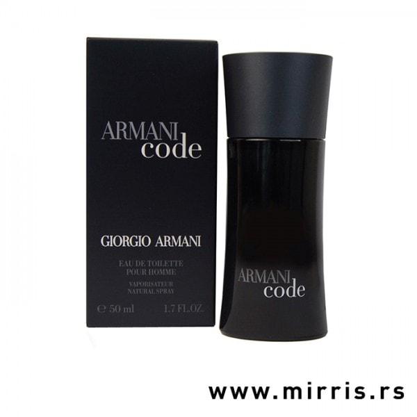 Kutija crne boje i boca parfema Giorgio Armani Code