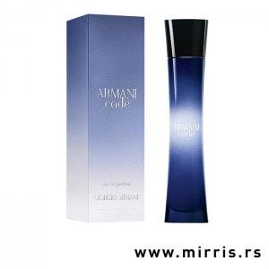 Boca originalnog parfema Giorgio Armani Code For Women pored kutije plave boje