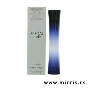 Plava boca testera Giorgio Armani Code For Women pored bele kutije